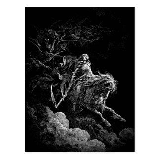Equitação da morte através de um cartão do céu