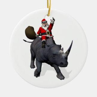 Equitação de Papai Noel no rinoceronte do Ornamento De Cerâmica Redondo