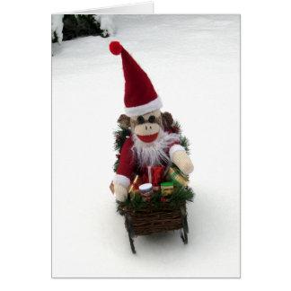 Ernie o cartão de Natal do papai noel do macaco da