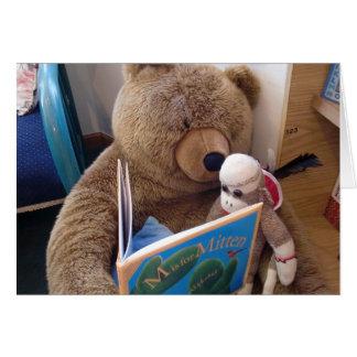 Ernie o cartão de nota da leitura do macaco da