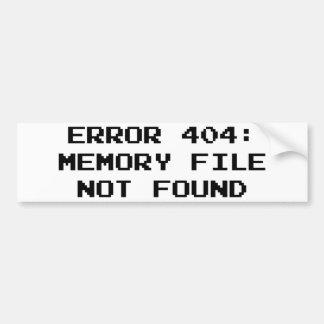 Erro 404: Arquivo da memória não encontrado Adesivo