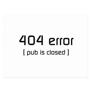 erro 404 - o bar é fechado cartão postal