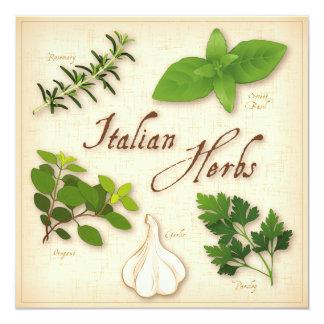 Ervas italianas, manjericão, Oregano, salsa, alho Convite Quadrado 13.35 X 13.35cm