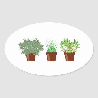 Ervas Potted Adesivos Oval