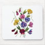 Ervilhas doces coloridas bordadas mouse pad