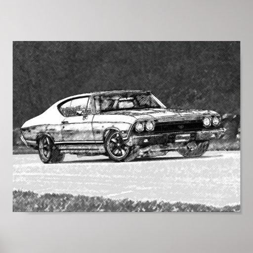Esboço 1968 do lápis de Chevelle Poster