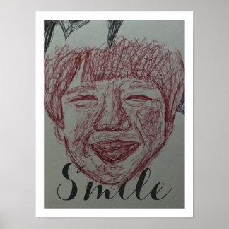 Esboço artístico do menino do sorriso pôster