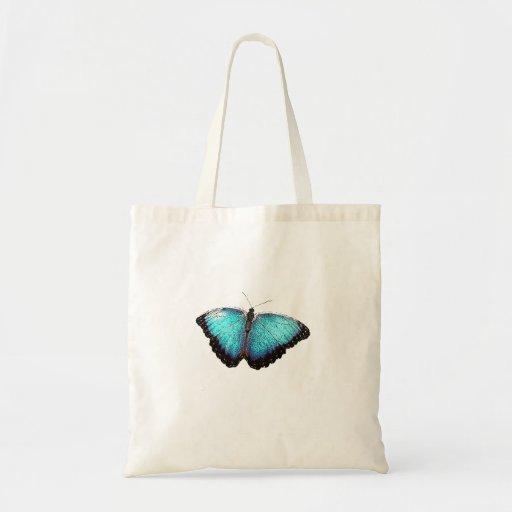Esboço azul da borboleta bolsas de lona
