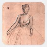 Esboço da bailarina pela arte bonito do dançarino  adesivo quadrado