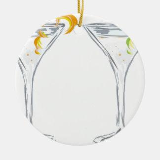 Esboço da bebida de Martini Ornamento De Cerâmica Redondo