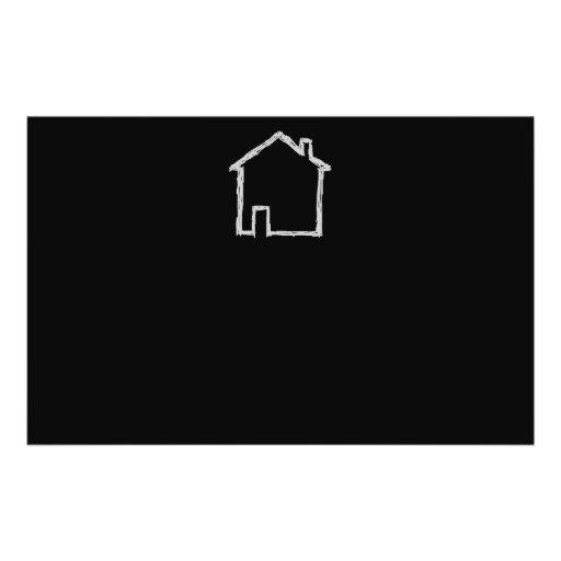 Esboço da casa. Cinzas e preto Panfletos Personalizado