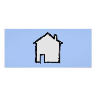 Esboço da casa. Preto e azul 10.16 X 22.86cm Panfleto