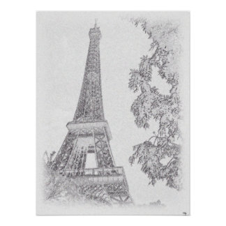 Esboço de Eiffel BW Poster