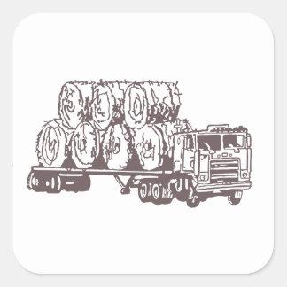 Esboço de transporte por caminhão do feno adesivo quadrado