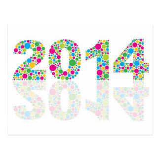 Esboço do ano novo 2014 com o cartão colorido da p cartao postal