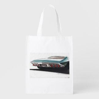 Esboço do carro vintage (1) Chevy 1 Sacolas Ecológicas Para Supermercado