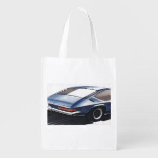 Esboço do carro vintage (6) Chevy 6 Sacolas Reusáveis