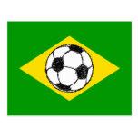 Esboço do futebol da bandeira | de Brasil Cartao Postal