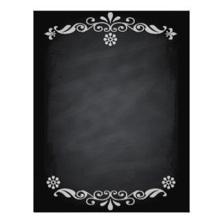 Esboço do quadro-negro floral flyer 21.59 x 27.94cm