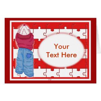 Esboço do quebra-cabeça de Little Boy - vazio Cartão Comemorativo