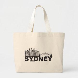 Esboço do texto de Sydney Austrália Sklyine Bolsa Tote Grande