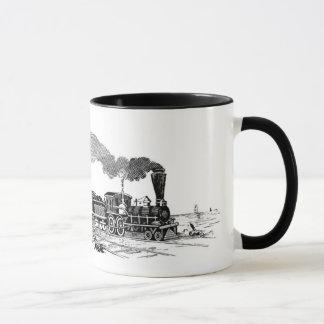 Esboço do trem do vapor do vintage na caneca