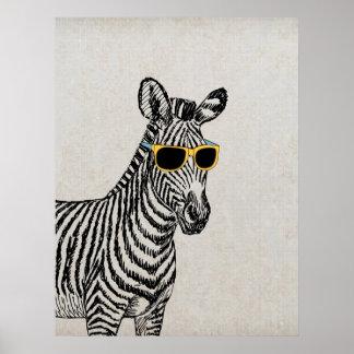 Esboço engraçado bonito legal da zebra com vidros  poster