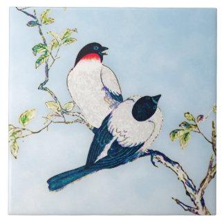 Esboço japonês da tinta do vintage dos passarinhos