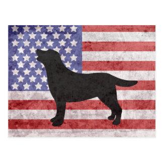 Esboço patriótico 4o de Labrador do cartão de Cartão Postal
