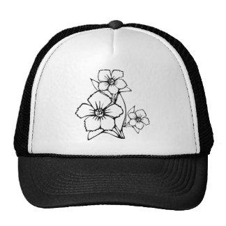 Esboço preto da flor três boné