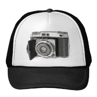 Esboço retro do desenho da fotografia da câmera do bonés