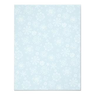Esboço retro flocos de neve congelados no azul de convite 10.79 x 13.97cm