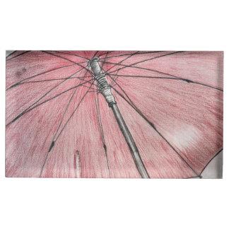 Esboço vermelho do guarda-chuva suporte para cartões de mesa