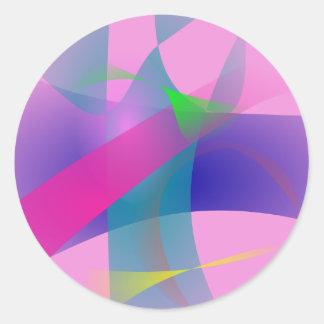 Esboços bem defenidos abstratos cor-de-rosa adesivo redondo