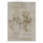 Esboços humanos da anatomia do coração de da Vinci Cartão Comemorativo