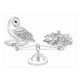 Escala com coruja e ratos de celeiro cartão postal