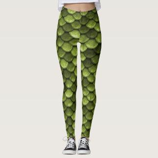 Escala verde da sereia leggings