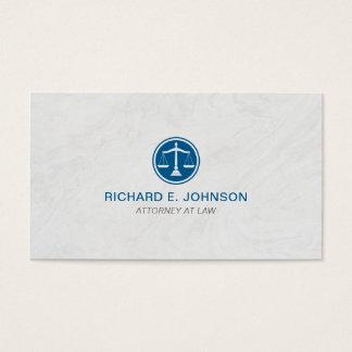 Escalas azuis do advogado do fundo do mármore de cartão de visitas
