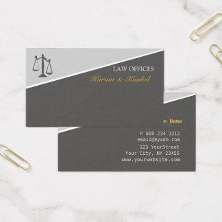 Escalas da lei e da justiça dos advogados de cartão de visitas