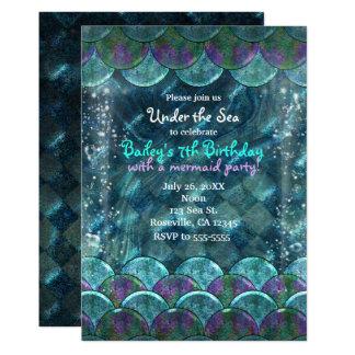Escalas da sereia sob os convites de festas do mar