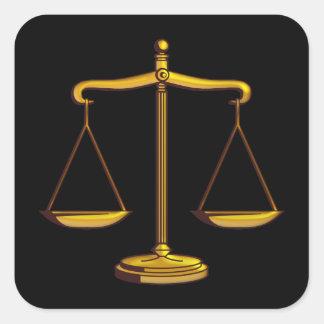 Escalas de justiça adesivo quadrado