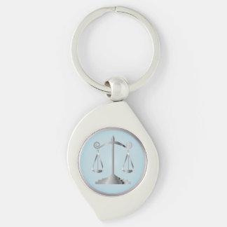 Escalas do azul do Aqua do advogado | da lei | de Chaveiro Espiral Cor Prata