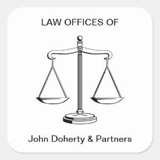 Escalas do escritório de advogados de justiça | adesivo quadrado