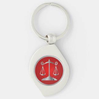 Escalas do vermelho do advogado | da lei | de chaveiro espiral cor prata