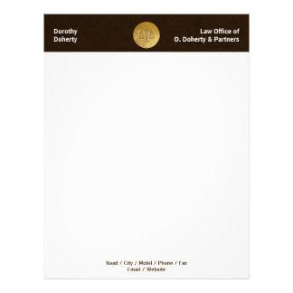 Escalas douradas do cabeçalho do ESCRITÓRIO DE Papel Timbrado