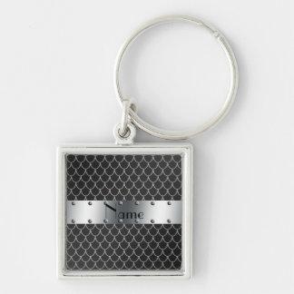 Escalas pretas conhecidas personalizadas do dragão chaveiro quadrado na cor prata