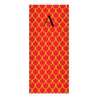 Escalas vermelhas do dragão do monograma 10.16 x 22.86cm panfleto
