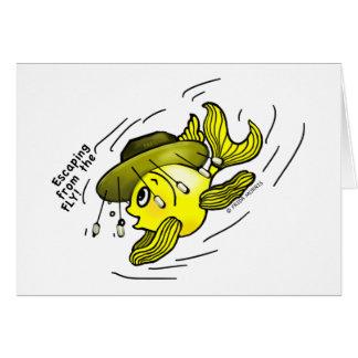 Escape dos desenhos animados engraçados dos peixes cartão comemorativo