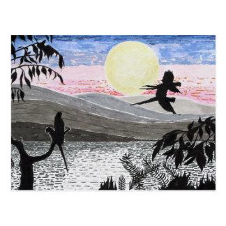 Escarlate dos papagaios do Macaw no cartão do