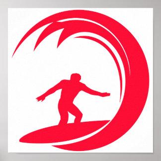 Escarlate surfar do vermelho poster